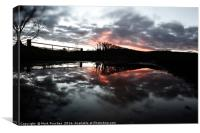 Fiery Sunset Reflection & Floods After Storm Imoge, Canvas Print