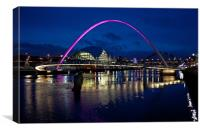 Gateshead Millenium Bridge At Night, Canvas Print