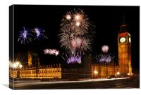 Westminster Fireworks, Canvas Print