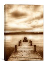 Jetty on a Lake - Sepia