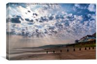 Heavenly Rays At Sandsend, Canvas Print