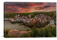 Staithes Sunset, Canvas Print