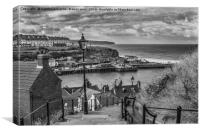199 Steps At Whitby - Mono, Canvas Print