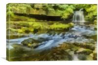 West Burton Falls Painting 2, Canvas Print