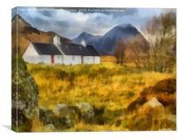 Black Rock Cottage, Glencoe Digital Art, Canvas Print