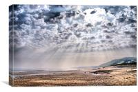 Heavenly Rays at Sandsend Beach, Canvas Print