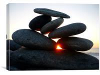 Beach Stones / Pebbles at Sunset, Canvas Print