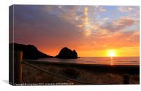 Surfers Sunset at Phia Beach NZ, Canvas Print