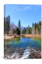 Colourful Mountain River in Yosemite NP, Canvas Print