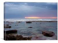 Streaky sunset over a rock pool, Canvas Print