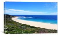 White sandy beach with clear blue sea, Canvas Print