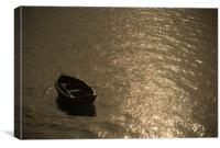 Singular Boat, Beaumaris, Wales, Canvas Print