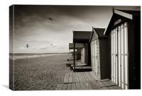 Stripey Beach Hut, Canvas Print