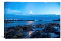 Moonlit Trearddur, Canvas Print