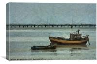 Fishing Boats and Southend-on-Sea Pier, Canvas Print