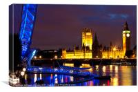 Westminster and London Eye, Canvas Print