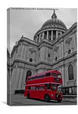 Red London Bus at St. Paul's, Canvas Print