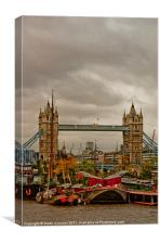 Tower Bridge and Barge Gardens, Canvas Print