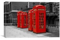 Red Telephone Boxes, Canvas Print