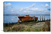 Rusty Wreck on River Medway, Canvas Print