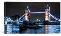 Tower Bridge at Night with London Barges, Canvas Print