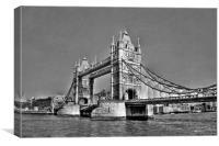 Tower Bridge London UK, black and white, Canvas Print