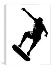 Skateboarder on White