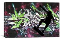 Skateboarder on colour graffiti background, Canvas Print