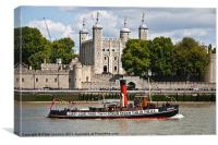 Tower of London and Tug, Canvas Print