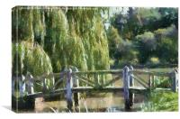 Wooden Bridge Monet Style, Canvas Print