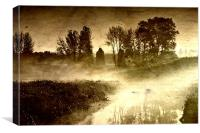Dawn mist on the river (aged), Canvas Print
