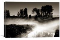 dawn mist on the river Trent, Trentham., Canvas Print