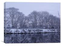 Caledonian Canal  In The Snow, Canvas Print