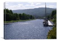 Sunny Day On The Caledonian Canal, Canvas Print