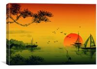 Japanese Sunset, Canvas Print