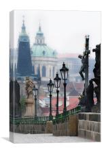 Misty Morning on Charles Bridge, Canvas Print