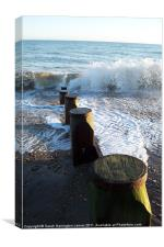 Waves crashing on beach at Winchelsea, Canvas Print
