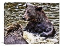 European Brown Bears, Canvas Print