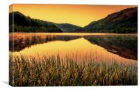 Sunset over Scottish Loch, Canvas Print