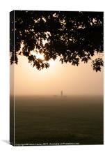 Morning mist dog walker, Canvas Print