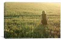 Girl in cornfield, Canvas Print
