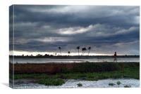 Boy Walking in a Storm Kerala, Canvas Print