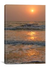 Sunset on Benaulim Beach, Canvas Print