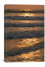 Waves Rolling in at Sunset Benaulim, Canvas Print