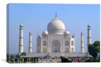 Visitors at the Taj Mahal, Canvas Print