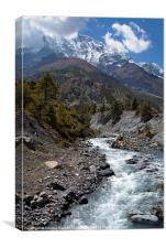 River and Mountains en route to Manang, Canvas Print