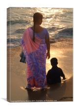 Woman in Pink and Blue Sari with Child Varkala, Canvas Print