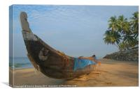 Boat and Palms on Black Beach Varkala, Canvas Print