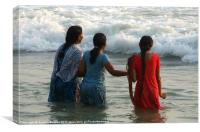 Indian Women in the Sea at Varkala, Canvas Print