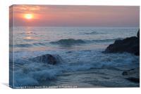 Water on the Rocks at Sunset Varkala, Canvas Print